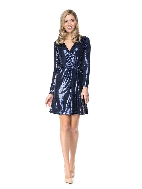 Синее платье на запах в пайетках