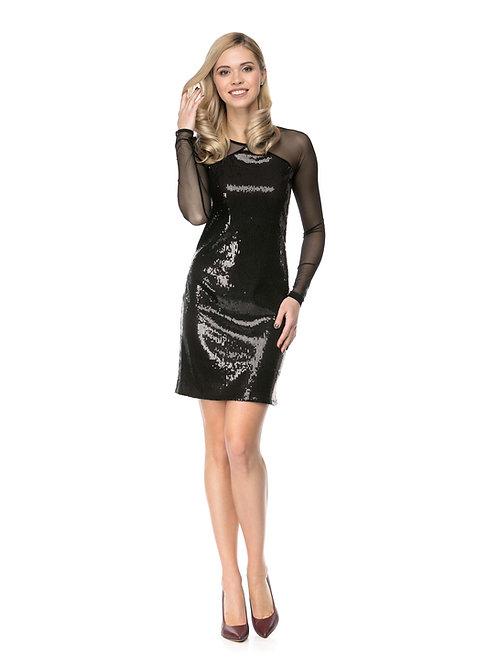 Чёрное платье в пайетках с рукавами из сетки