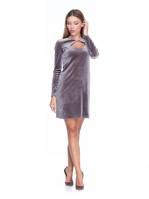 Серо-розовое бархатное платье с болеро