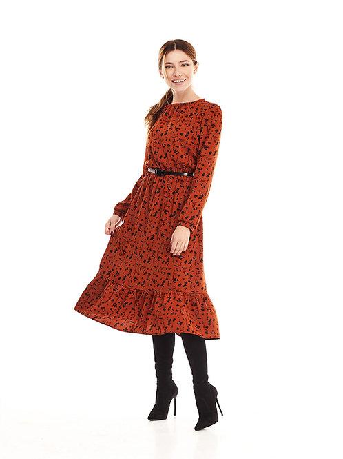 Терракотовое платье на подкладке, отрезное по линии талии на резинке, юбка миди