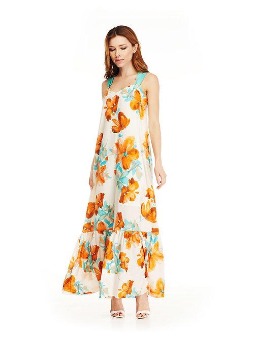 Длинное платье с воланом свободного кроя, крупный цветочный принт