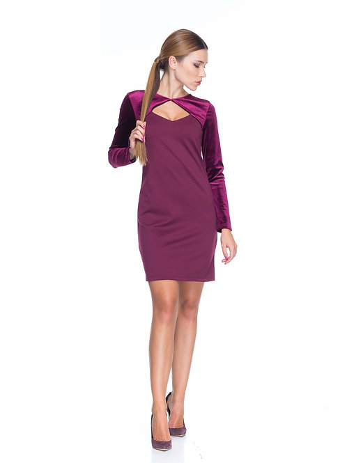 Бордовое трикотажное платье с болеро из бархата