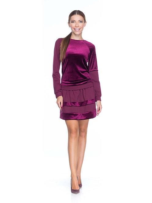 Бордовая трикотажная юбка с бархатными вставками