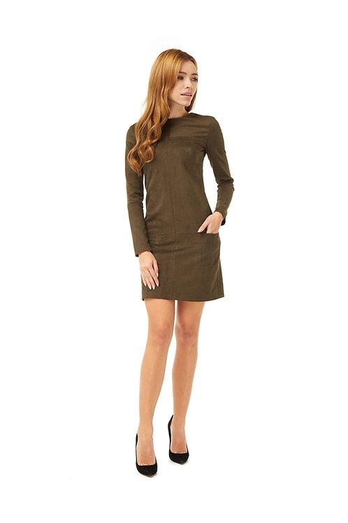 Платье цвета хаки, свободного кроя с карманами и декоративной отстрочкой