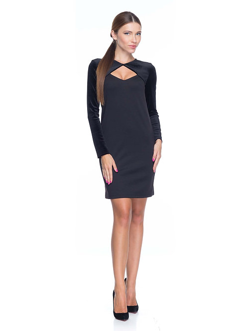 Чёрное трикотажное платье с болеро из бархата