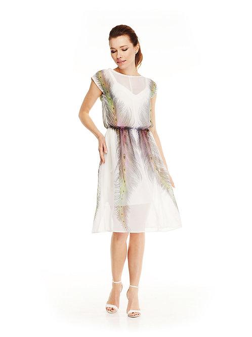 Белое шифоновое платье, отрезное по линий талии на резинке,юбка миди, принт