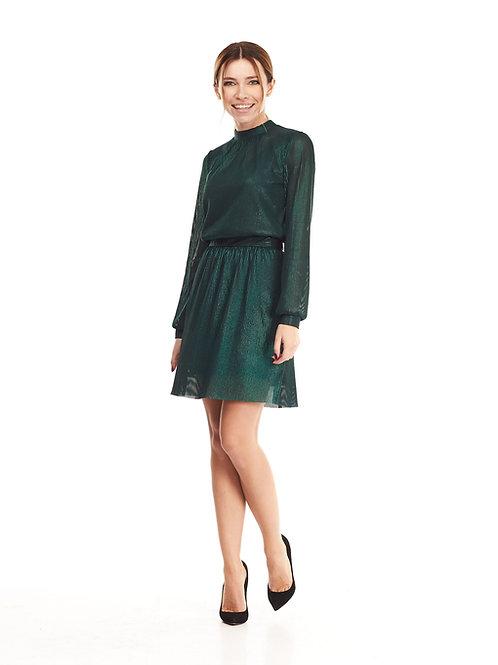 Зеленое полупрозрачное платье на подкладке, отрезное по линии талии на резинке