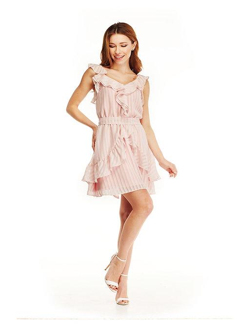 Розовое шифоновое платье с воланами, отрезное по линии талии, юбка мини