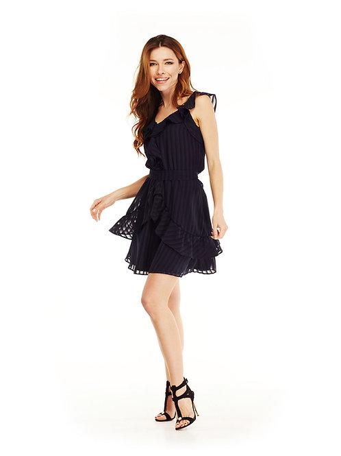 Тёмно-синее шифоновое платье с воланами, отрезное по линии талии, юбка мини
