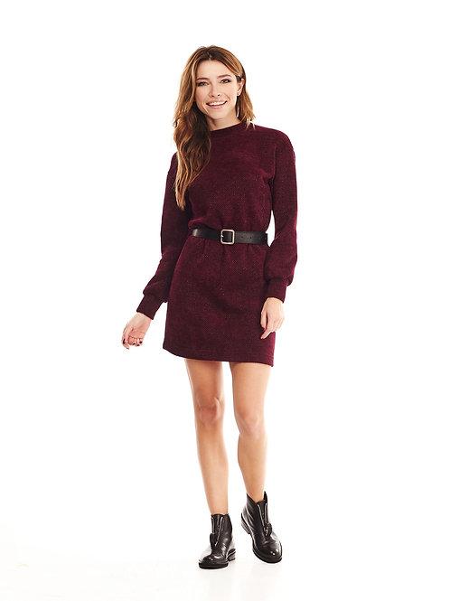 Бордовое вязаное платье с люрексом, в комплекте ремень из эко-кожи