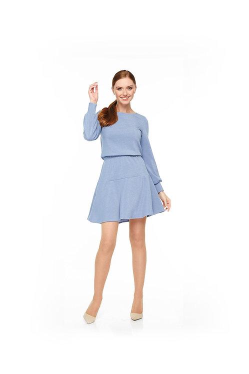 Голубое трикотажное платье с люрексом, отрезное по линии талии на резинке