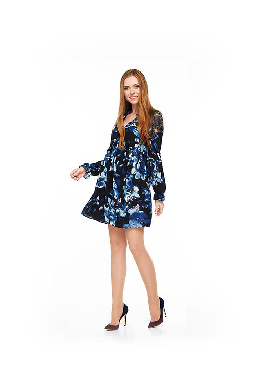 Синее шифоновое платье на подкладке, свободного кроя с V-образным вырезом