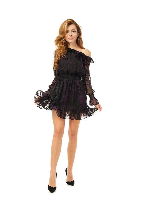 Шёлковое платье с воланами, отрезное по линии талии на резинке, принт