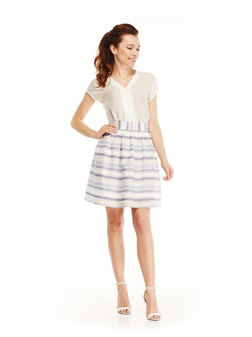 Льняная пышная юбка с широким поясом на талии, принт полоска