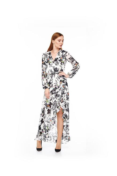 Белое длинное шифоновое платье на подкладке, отрезное по линии талии на резинке