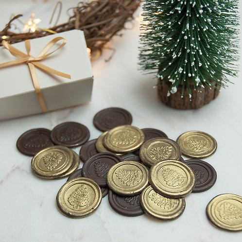 Dark Chocolate Christmas Tree Seals