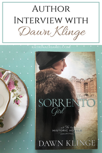 Flower patterned saucer and teacup and paperback book of 'Sorrento Girl' with the text: 'Author Interview with Dawn Klinge'