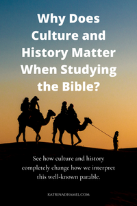 A man is leading two camels bearing passengers as the sun sets behind them. The text reads 'Why Does Culture and History Matter When Studying the Bible?'