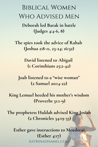A list of Biblical Women who Advised Men including Deborah, Rahab, and Esther with a picture of a woman seated before a pastel sky