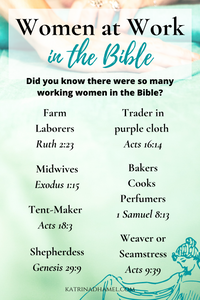 Hand smoothing pale blue cloth and the text 'Women at Work in the Bible, Did you know there were so many working women in the Bible?'