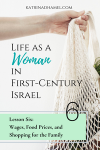 Hand holding mesh shopping bag with the text 'Life as a Woman in First-century Israel: Lesson Six, Wages, Food Prices and Shopping for the Family'