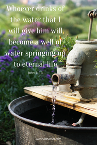 Rustic pump water fountain trickling water and bible verse from John 4:13