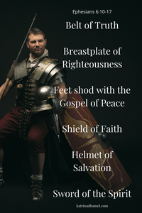 Roman soldier in armor with the armor of God quoted from Ephesians 6:10-17