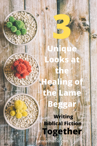 Three bowls hold different plants in red, green and yellow and the text reads 3 unique looks at the healing of the lame beggar'