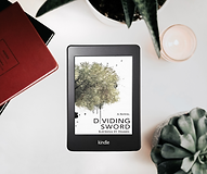 Kindle with book Dividing Sword with a succulent plant and a candle