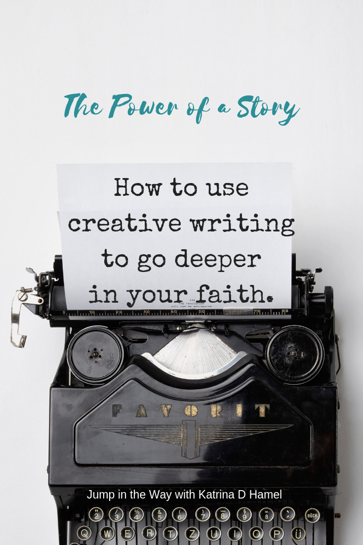 A black old fashioned typewriter and the text 'How to use creative writing to go deeper in your faith'