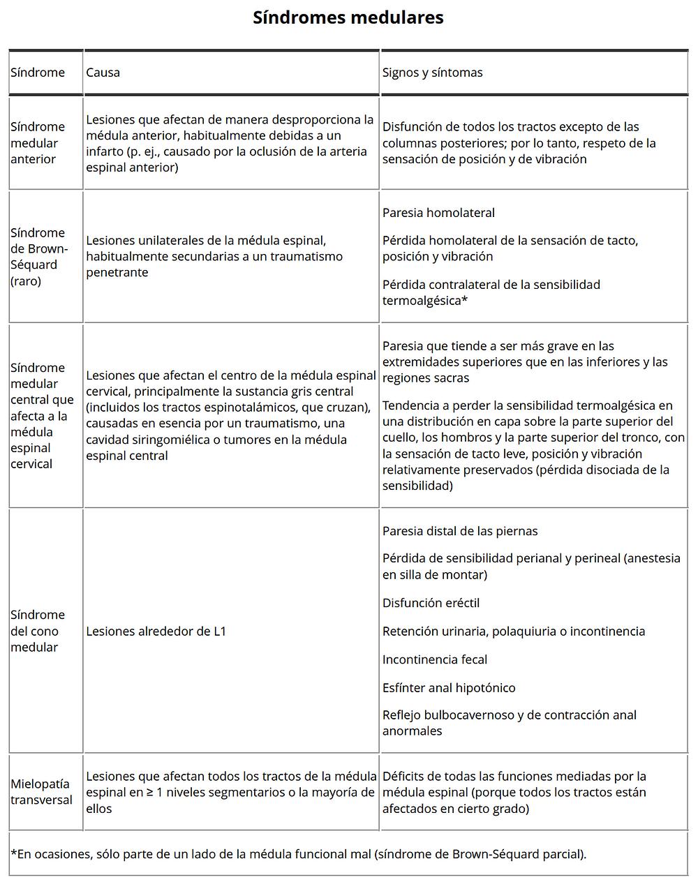 síndromes medular