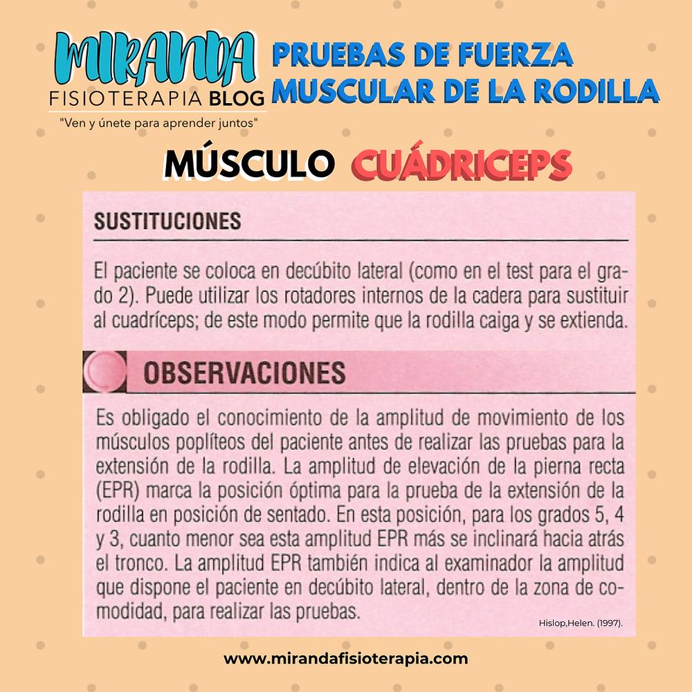 Pruebas de fuerza muscular de la rodilla: Sustituciones y observaciones