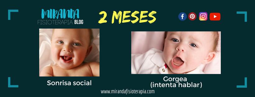 Desarrollo psicomotor:  2 meses sonrisa social y gorgea (intenta hablar)