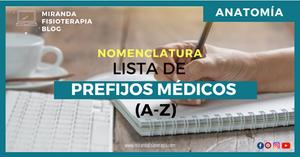 NOMENCLATURA: Lista de prefijos médicos de la A-Z