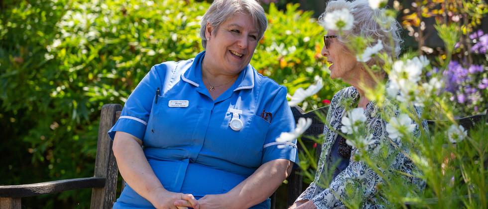 Rose nurse and hazel in garden.jpg