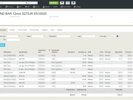 Product Movements with Totals = #Build3485