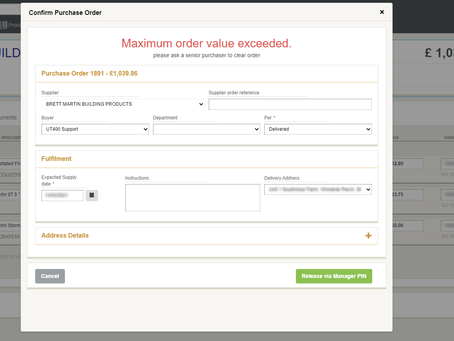Buyer limits on Purchase Orders (Build 3438)