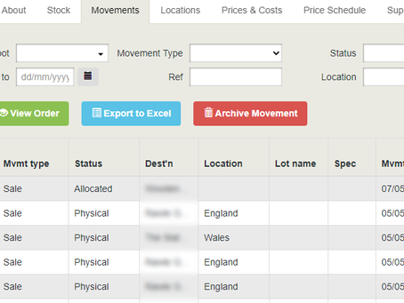 Product Movements show Lot & Location