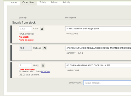 Insufficient Stock display on order line