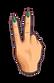 Victor Jorda. Mano con 2 dedos en V sin huellas visibles.