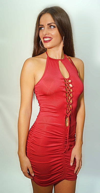 Vestido con escote delantero drapeado