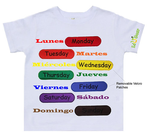 Days of The Week English and Spanish Interactive Educational T-shirt
