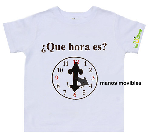 ¿Que Hora Es? (What Time Is It?) Interactive Educational T-shirt