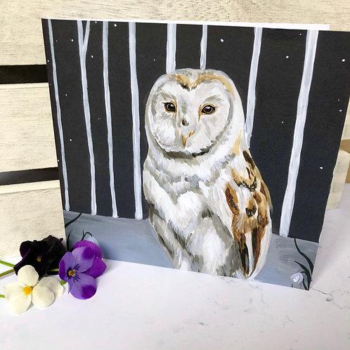 Snowdrop Owl Card