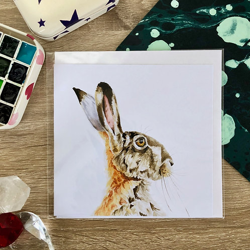 """Thoughtful Hare"" Card"