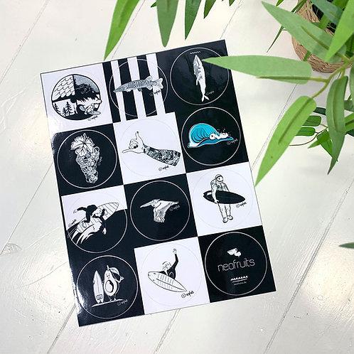 """Surf Art Outdoor-Sticker Sheet """"Surf 2"""" (Set of 9 Sticker)"""