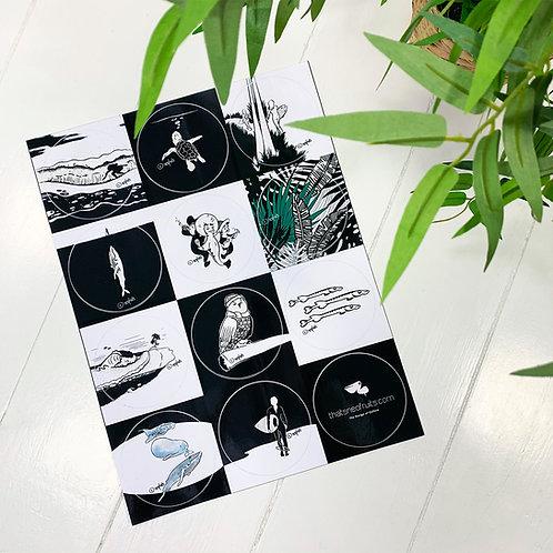 """9 Surf Art Outdoor-Sticker Sheet """"Surf I"""""""