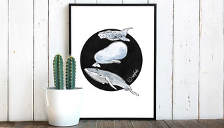 Three Whales Color Illustration