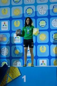 Maria on the podium of the World Kettlebell Lifting Championships