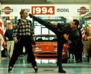 Van Damme showing control of his flexibility